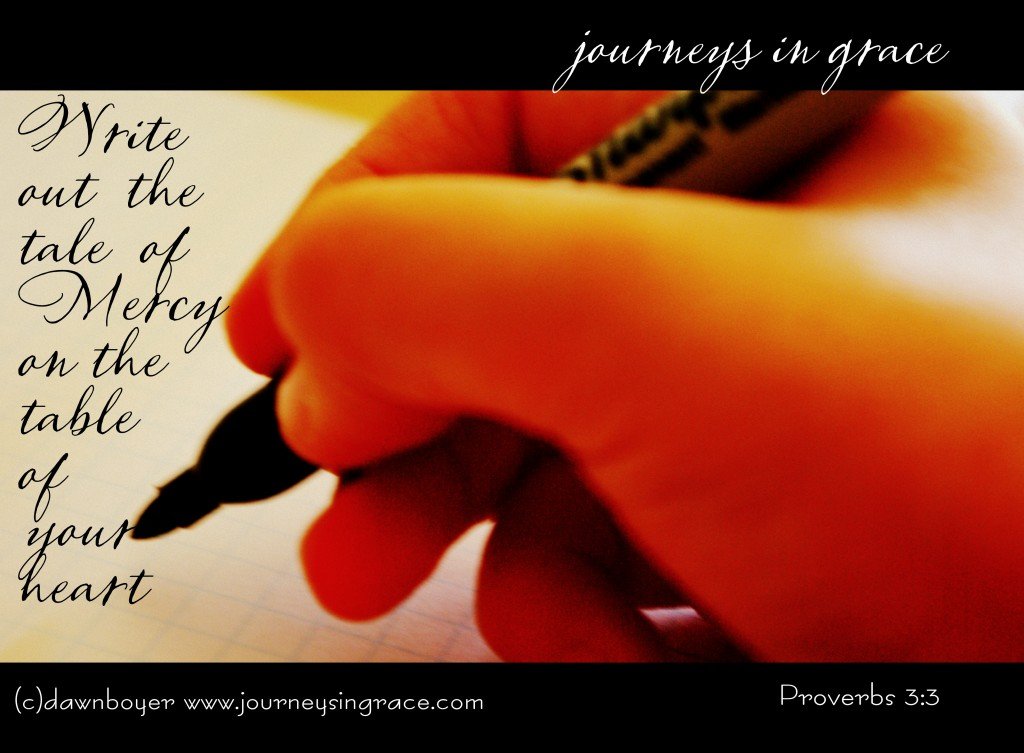 write out the tale of mercy proverbs 3 3
